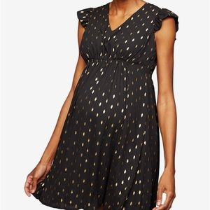 A Pea in the Pod Black & Gold Flutter Sleeve Dress